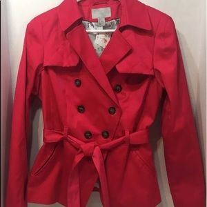 Women H & M trench hot pink belted short jacket